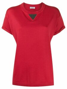 Brunello Cucinelli brass-embellished crew-neck T-shirt - Red