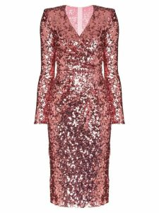 Dolce & Gabbana sequinned wrap dress - PINK