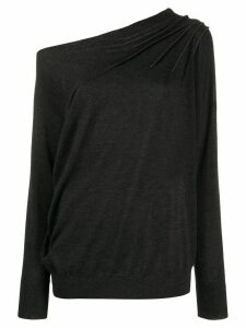 Brunello Cucinelli asymmetric brass-embellished top - Grey