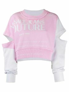 Versace Jeans Couture colour block cropped sweatshirt - PINK