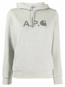A.P.C. logo print hoodie - Grey