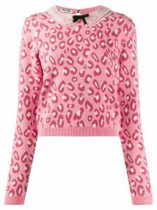 Miu Miu leopard print knit jumper - PINK