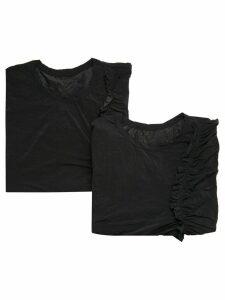 Y's ruffle trim T-shirt - Black