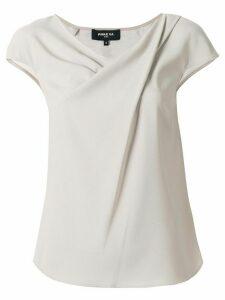 Paule Ka draped neckline blouse - NEUTRALS