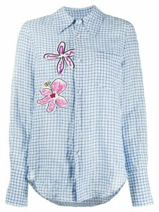 Mira Mikati check print flower patch shirt - Blue