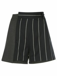 Monse pinstriped patchwork shorts - Black