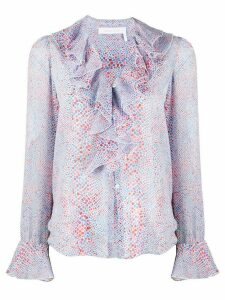 See By Chloé geometric print ruffle blouse - Blue