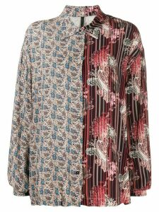 Unravel Project contrast paisley print shirt - Red