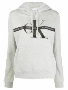 Calvin Klein Jeans logo tape cotton hoodie - Grey