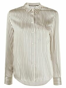 Calvin Klein striped slim-fit silk shirt - NEUTRALS