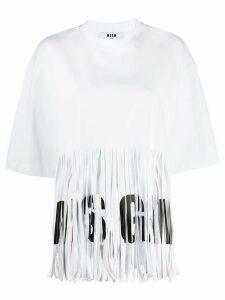MSGM fringed logo T-shirt - White