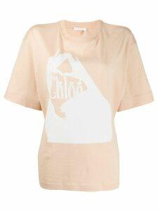 Chloé logo print T-shirt - NEUTRALS