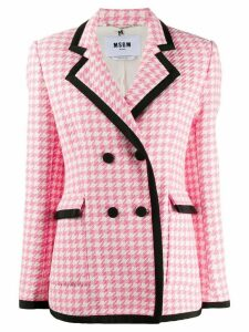 MSGM double-breasted houndstooth fitted jacket - PINK