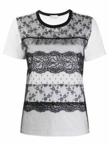 RedValentino lace panelled T-shirt - White