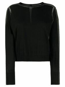Pinko sheer glitter panel jumper - Black