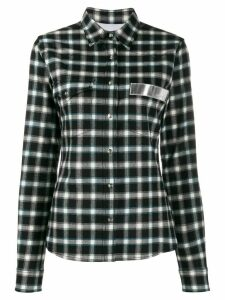 Paco Rabanne plaid logo patch shirt - Blue