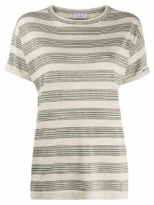 Brunello Cucinelli glitter stripe knit top - NEUTRALS