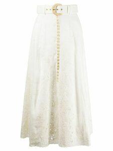 Zimmermann Peggy embroidered button-through midi skirt - White