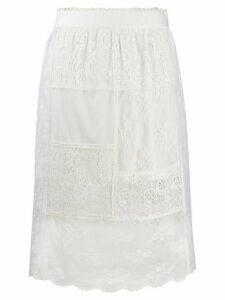 McQ Alexander McQueen lace panels straight skirt - White
