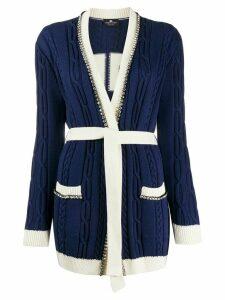 Elisabetta Franchi cable knit logo cardigan - Blue