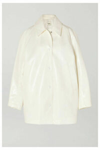 we11done - Snake-effect Faux Leather Coat - White