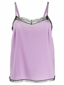 Zadig & Voltaire lace-embellished silk top - PURPLE