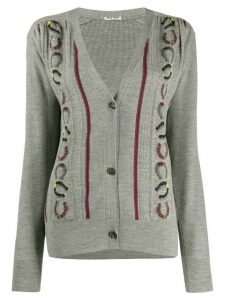 Miu Miu horseshoe embroidery V-neck cardigan - Grey