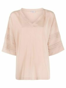 Brunello Cucinelli oversized pleated sleeve T-shirt - PINK