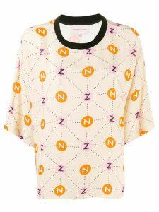 Natasha Zinko Printed T-shirt Box Top NZ - NEUTRALS