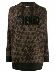 Fendi FF monogram print hoodie - Brown