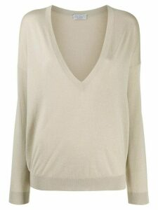 Brunello Cucinelli relaxed-fit plunging-neck jumper - NEUTRALS