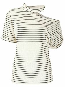 Erika Cavallini striped cut-out T-shirt - NEUTRALS