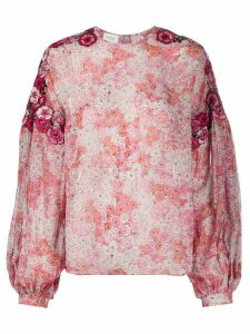 Giambattista Valli floral-print and appliqué chiffon blouse - PINK