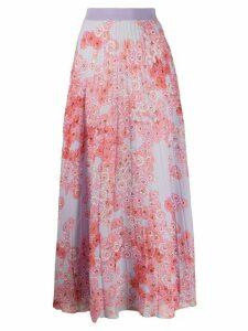 Giambattista Valli poppy-print pleated chiffon skirt - PURPLE