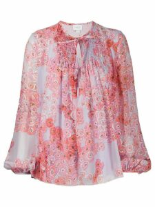 Giambattista Valli poppy-print chiffon blouse - PURPLE