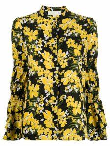 Michael Michael Kors floral print smocked-sleeve shirt - Black