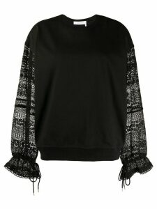 See by Chloé embroidered sleeve sweatshirt - Black