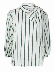 Red Valentino pussy bow striped blouse - White