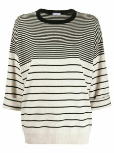 Brunello Cucinelli oversized multi-stripe jumper - NEUTRALS