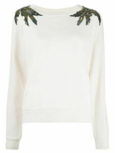 Patrizia Pepe sequin embellished sweatshirt - NEUTRALS