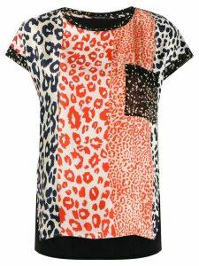 Luisa Cerano patchwork leopard print T-shirt - Blue