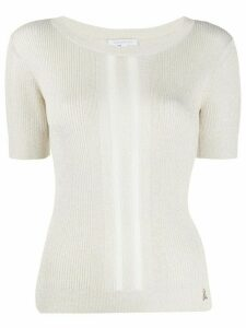 Patrizia Pepe fine knit ribbed T-shirt - NEUTRALS