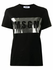 MSGM metallic box logo T-shirt - Black