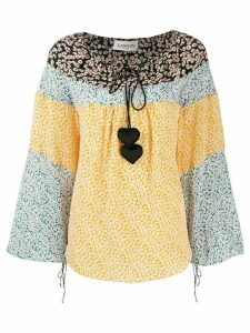 LANVIN heart embellished floral print blouse - Yellow