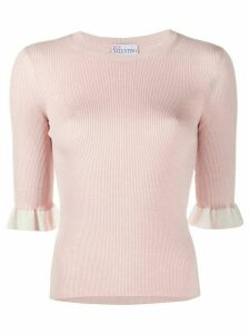RedValentino knitted frill-cuff top - PINK