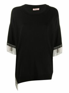 Twin-Set fringed-hem short sleeve top - Black