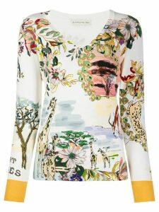 Etro fine knit floral print top - NEUTRALS