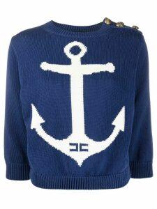 Elisabetta Franchi anchor print sweatshirt - Blue