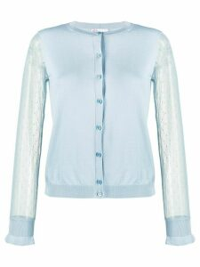 RedValentino point d'Esprit tulle sleeved cardigan - Blue