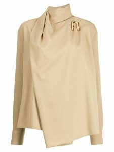 Bottega Veneta asymmetrical draped blouse - NEUTRALS